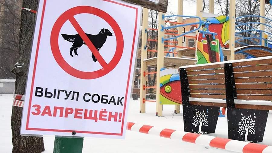 Табличка о запрете выгула собак