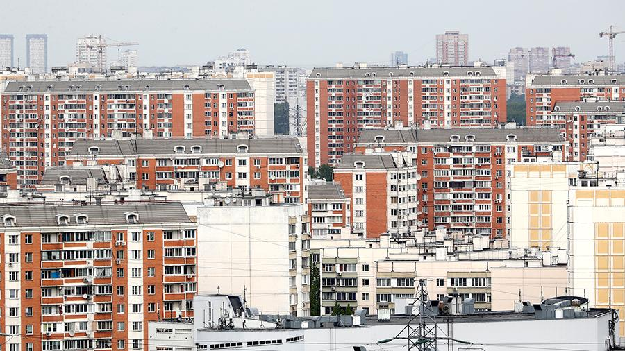 Вид на жилые дома в районе Марьино в Москве