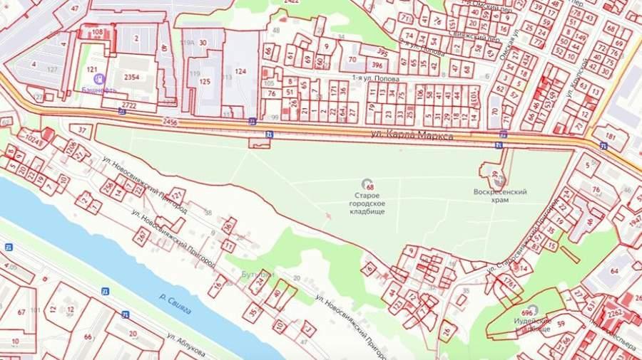 «Воскресенский некрополь» и прилегающие постройки на карте города