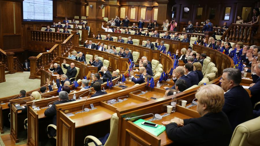 Deputies at the meeting of the Parliament of Moldova in Chisinau